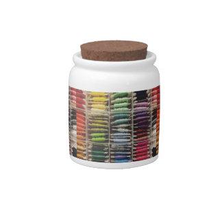 Embroidery Floss Rainbow Candy Jars