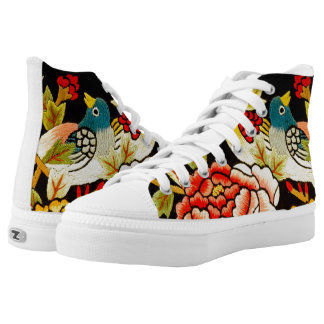 embroidery Hand made flower High-Top Sneakers