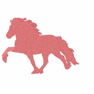 Embroidery  Icelandic ~ Pink Embroidered Hooded Sweatshirt
