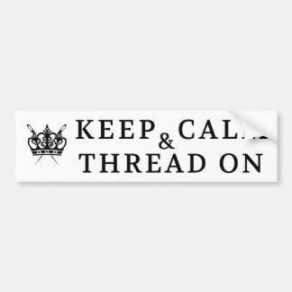 Embroidery - Keep Calm Thread On Crafts Bumper Sticker