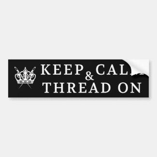 Embroidery Keep Calm Thread On Crafts {Dark} Bumper Sticker