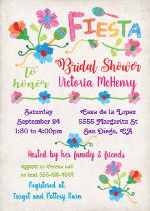 e328c28f216f Embroidery Mexican Fiesta Bridal Shower Invitation
