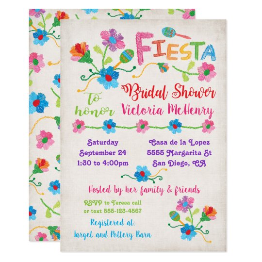 d16c68aa0512 Embroidery Mexican Fiesta Bridal Shower Invitation