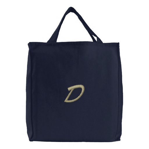 Embroidery Monogram Letter D Initial Embroidered Tote Bag