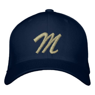 Embroidery Monogram Letter M Initial Embroidered Baseball Caps
