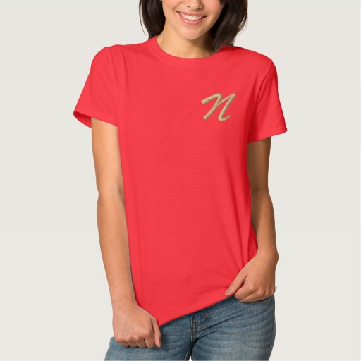 Embroidery Monogram Letter M Initial Embroidered Shirt