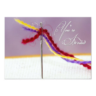 EMBROIDERY PARTY INVITITATION - NEEDLE THREADED CARD