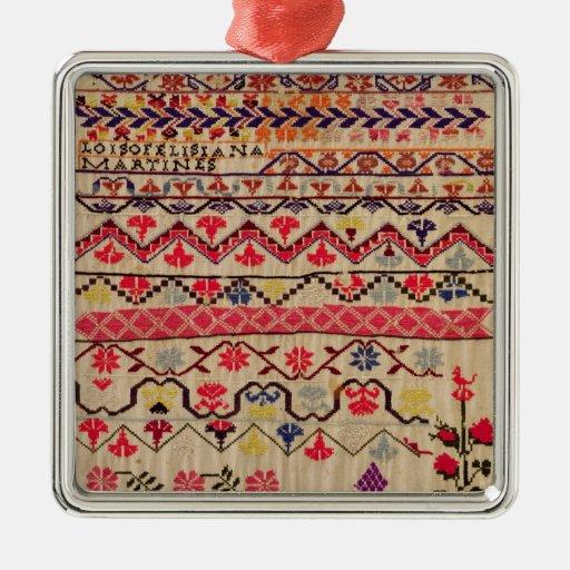 Embroidery sampler christmas ornament