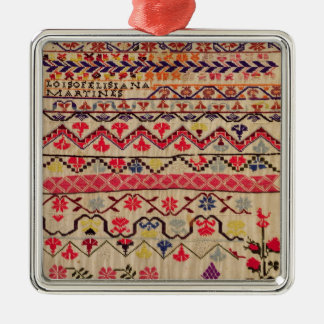 Embroidery sampler metal ornament