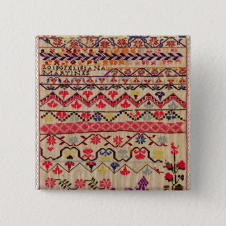 Embroidery sampler pinback button