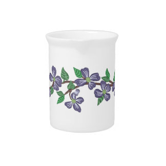 Embroidery Style Flowering Dogwood Beverage Pitchers