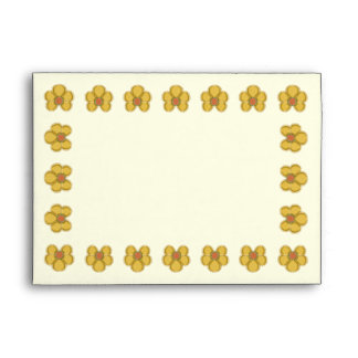 Embroidery Style Gold Daisies Envelopes