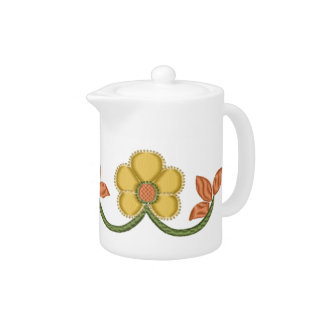 Embroidery Style Gold Daisies Teapot