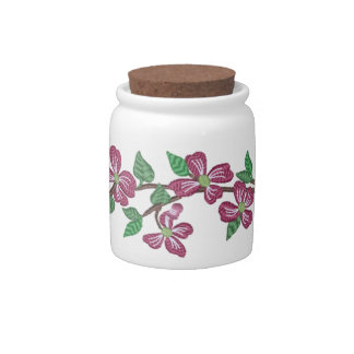 Embroidery Style Pink Dogwood Candy Jars
