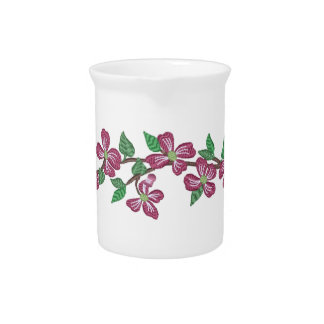 Embroidery Style Pink Dogwood Drink Pitchers