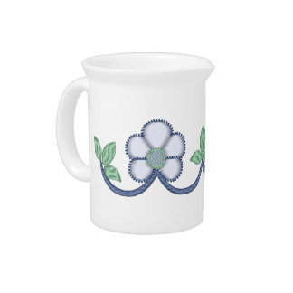 Embroidery Style White Daisies Beverage Pitcher