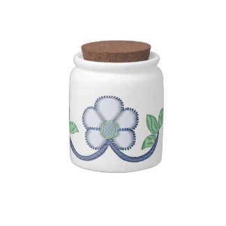 Embroidery Style White Daisies Candy Jars