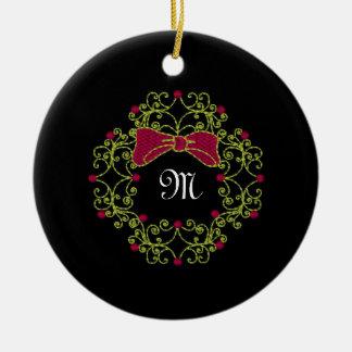 Embroidery Style  Wreath Design Ceramic Ornament