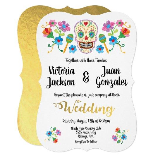 Embroidery Sugar Skull Mexican Wedding Invitations Zazzle Com