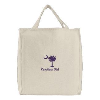 Embroidred Carolina Girl Palmetto Tote Bag