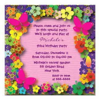 Embroma a la fiesta de cumpleaños Mi jardín secre Invitacion Personalizada