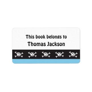 Embroma a los pegatinas del bookplate del cráneo etiqueta de dirección