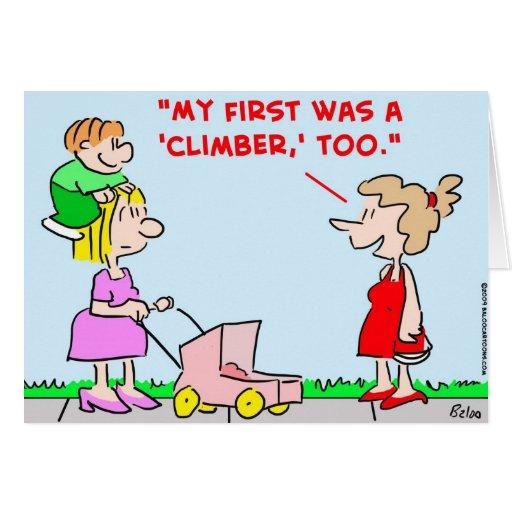 embroma al escalador de los bebés tarjetón