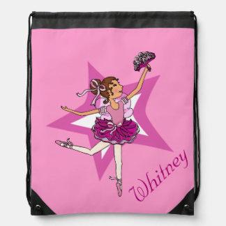Embroma el bolso de lazo del nombre del rosa de la mochila