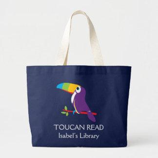 Embroma el bolso leído toucan de la biblioteca del bolsa tela grande
