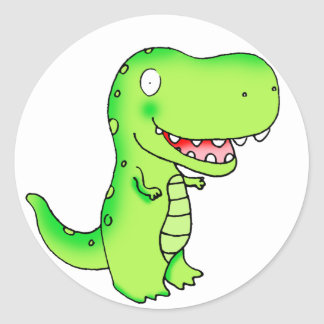 embroma el dinosaurio de T-rex del dibujo animado Pegatina Redonda