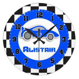 Embroma el reloj de pared a cuadros azul del nombr