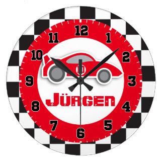 Embroma el reloj de pared a cuadros rojo del nombr