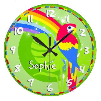 Embroma el reloj de pared del verde del nombre del
