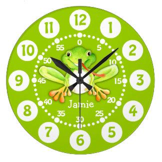 Embroma el reloj de pared lindo del verde de la ra