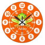 Embroma el reloj de pared verde anaranjado de la r