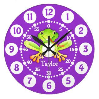 Embroma el reloj de pared verde púrpura de la rana