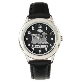 Embroma el reloj negro gris conocido del tren de