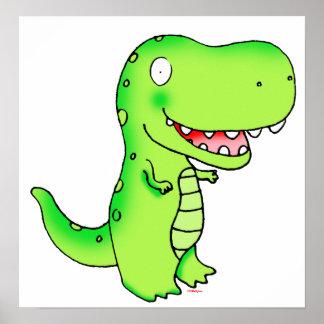 embroma el t-rex divertido lindo del dibujo animad posters