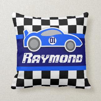 Embroma la almohada a cuadros azul del nombre de cojín decorativo