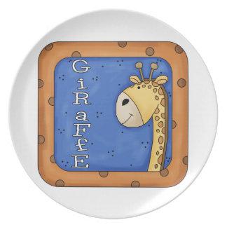 Embroma la placa decorativa de la jirafa de la div platos