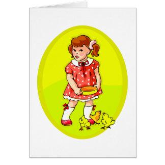 embrome en polluelos de alimentación del vestido tarjeta pequeña