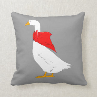 Emden goose with red bow scarf throw pillow
