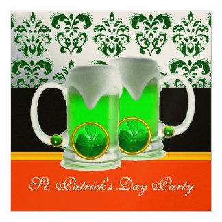 EMERAL GREEN WHITE  DAMASK ,SHAMROCK ,Black Orange 5.25x5.25 Square Paper Invitation Card
