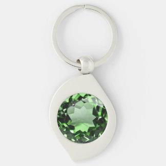Emerald 1 Silver-Colored swirl metal keychain