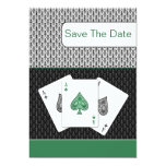 emerald 3 aces vegas wedding save the date card