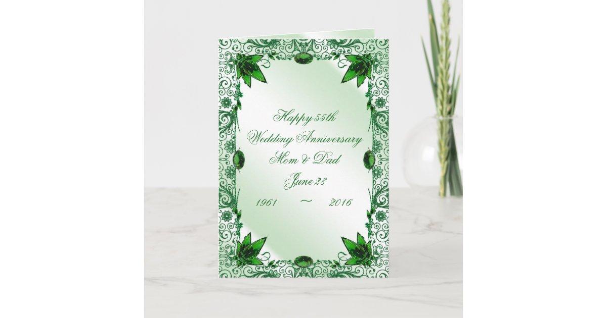 Emerald Wedding Anniversary Gifts: Emerald 55th Wedding Anniversary Greeting Card
