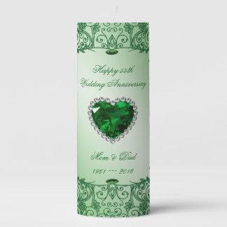 Emerald 55th Wedding Anniversary Pillar Candle