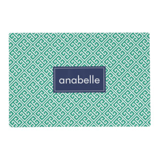 Emerald and Blue Personalized Greek Key Pattern Placemat
