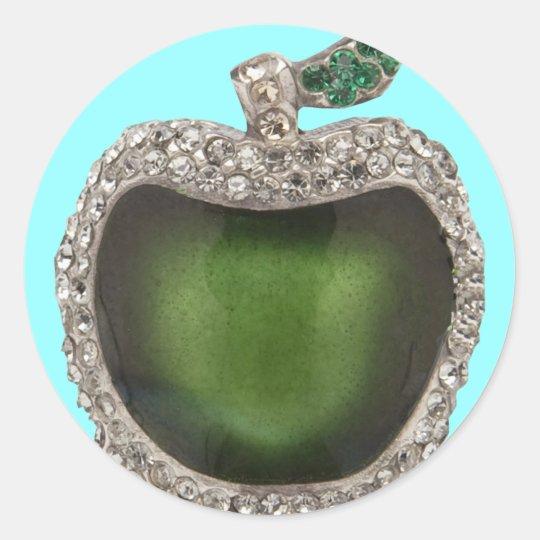 Emerald and Diamonds Jeweled Apple. Classic Round Sticker