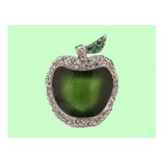 Emerald and Diamonds Jeweled Apple. Postcard